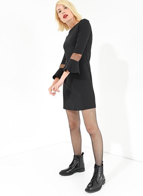 Agenda Kolları Volanlı Elbise Siyah
